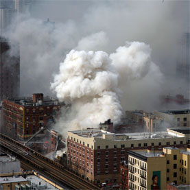 Aerial view of New York City's East Harlem apartment gas explosion, March 12, 2014. Courtesy of Adnan Islam, via Wikimedia Commons.